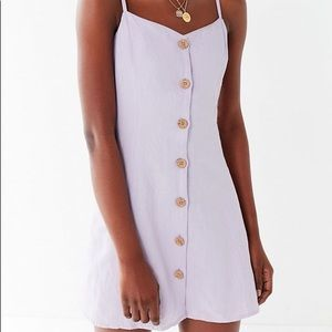 UO white linen strappy back dress button down